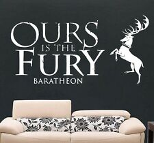 Game of Thrones Ours Is The Fury Baratheon Wall Art Free Squeegee Vinyl Decal