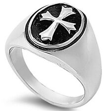 Stainless Steel Chopper Cross Round Stamp Right Hand Band Men's Ring Size 8-17
