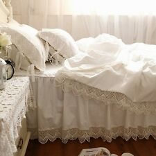 Shabby and Victorian Style White Wide Lace Cotton Duvet Cover Bedding Set 1117