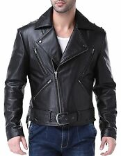 Airborne Leathers Mens Motorcycle Rugged Cow Leather Jacket