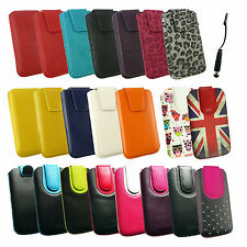 PU Leather Pouch Case Cover Sleeve with Pull Tab for Phones &  Stylus