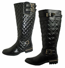 WOMENS LADIES LOW WINTER BIKER KNEE HIGH ELASTIC GUST RIDING ZIP QUILTED BOOTS
