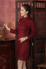 burgundy Chinese Tradition Women's lace  Mini Cheong-sam Dress S-XXL