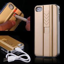 USB Rechargeable Cigarette Lighter Smoking Case Cover For Apple iPhone 4 4S 5 5S