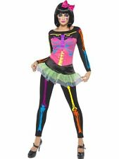 Womens Neon Skeleton Costume Halloween Horror Skull Movie Zombie Undead Party