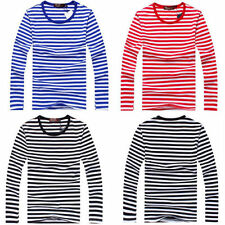 New Men's Boys Long-sleeved Striped T-shirt Fashion Scoop Neck Shirts Top Blouse