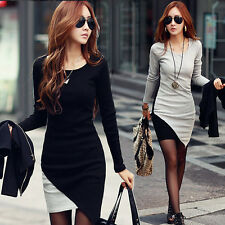 Autumn Spring Fashion Patchwork Color Long Sleeve Bodycon Pencil Dresses