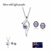 Silver Plated Crystal Pendants Necklace Earrings Jewellery Sets Chain Fashion