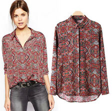 2014 New fashion Women retro print blouse Long-sleeve lady lapel top loose shirt