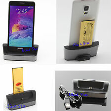 1 Battery 1 Dual Charger Cradle For Samsung Galaxy Note4 IV 4 N9100 EB-BN910BBK