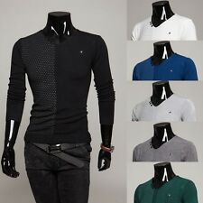 New Stylish Mens V-Neck Slim Fit Designed Pullover Cardigan Sweater Top Knitwear