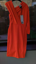 Aqua Magdalene Fitted Asymmetric Pencil Midi Party Dress Size 6 Orange