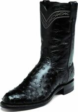 Justin Men's Black Full Quill Ostrich Western Boots Made In USA Medium 3171