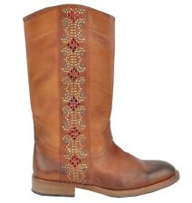 D&G DOLCE & GABBANA RUNWAY Strass Cowboy Boots Shoes Brown Bottes Brun 02823