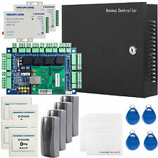 4 Door Network RFID Access Control Board Kit AC Power Box W/ 2X 3A Power Reader