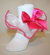 Girls White Nylon and Organza Ruffle Trimmed in Hot Pink Bobby Socks