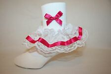 Girls White Nylon & Lace Flower Girl Socks with Hot Pink Satin Ribbon Bows