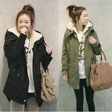 Fashion Women Zip Hooded Parka Thick Fleece Warm Winter Coat Long Jacket