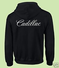 Zippered Hooded Sweat Shirt, Motor Sports, Auto, Black, White Print Cadillac