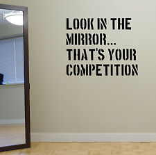 Look in the Mirror Gym Wall Decal Quote Spinning Workout Boxing UFC TRX Fitness