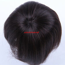Younger hairpiece toupee 100% human hair straight clips removable Black or Brown