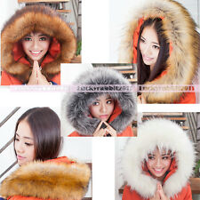 Fluffy Warm Winter Soft Faux Raccoon Fur Collar Scarf Accessorize Hood Tirm New