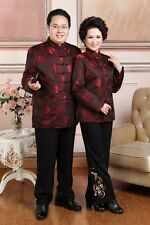 Hot Sale dard red Chinese women's/men'/ lovers silk/satin clothes/jacket/coat