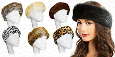 Ladies New Faux Fur Warm Head Band Fluffy Cosy Ski Headwarmer Muffs Hat Winter