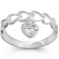 925 Sterling Silver Love Knot Heart Valentine's Day Dangling Band Ring Size 1-11