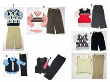 NEW Children Kids Baby Boys Sweater Vest shirt Tshirt Pants 3 Pc outfit Set sz:1