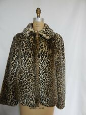 Generation NXT Faux Fur Leopard Print Jacket Coat  Brown  NWT
