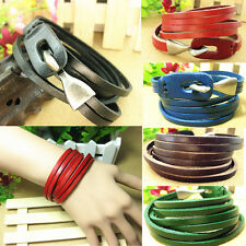 Fashion Infinity Leather Multilayer Wrap Bracelet Wristband Cuff Bangle Buckle