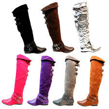 Womens Knee High Boots Low Heel Winter Snow Faux Leather Fold Over Buckle Shoes