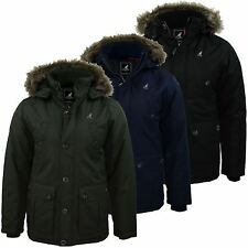 Kangol Toronto Faux Fur Parka Jacket New Men's Warm Hooded Winter Padded Coat