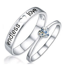 Silver Plated Endless Love Couple Engagement Wedding Band Promise Ring  Jewelry