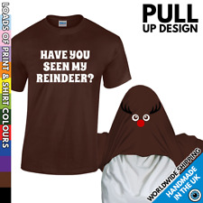 Christmas Reindeer Tshirt Funny Ask About Party Boys Girls Kid Pull Over T Shirt