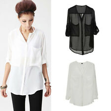 Womens Chiffon See-through Pockets Shirt Tops Button-down Blouse Collarless New