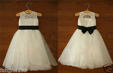 2014 Lace Tulle Ivory Flower Girl Dress Wedding Easter Junior Girl Dress Baby v