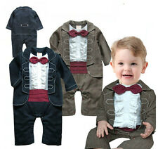 Baby Boy Formal Wedding Christening Tuxedo Suit, Bow Tie 4 Special Pageant Day