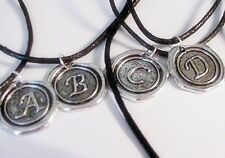 Pick One!  ***INITIAL**A-Z***  Letter*Wax Stamp Look*Silver*Charm*Black Necklace