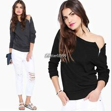 Women One Off-Shoulder Long Sleeve Tops Jumper Sweater Pullover T-shirts Sexy BF