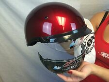 FREE Tinted Visor New Zox Cherry Red Motorcycle Half Helmet 1/2 Harley cruiser
