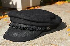Classic Wool Greek Fisherman Sailor Hat Fiddler Military Brim Visor Cap Black