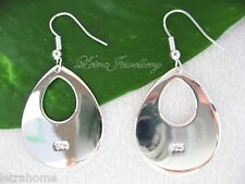 925 Stamped Sterling Silver Hollow Thick Tear Drop Earrings Gifts Present