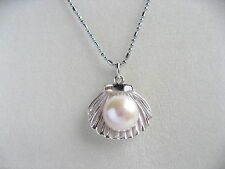 """16"""" AAAA 10mm Real Cultured Freshwater Pearl 925 Sterling Silver Shell Necklace"""