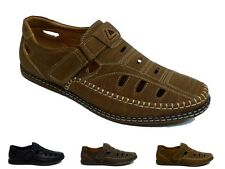 Mens Flat Light Velcro Casual Strapped Sandals Black Lined Style Work Shoes Size