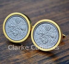 Gold Sixpence Cufflinks 6d Coin Birthday Anniversary Present Gift Mens 50th 60th