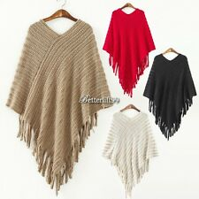 Womens Cape Batwing Tassels Poncho Jacket Lady Winter Warm Cloak Coat Knitwear