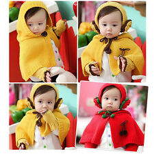 Baby Girl Toddler Winter Warm Knit Shawl Earmuffs Scarf Cape Hat Gloves LJ