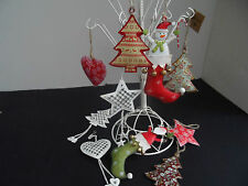 Vintage Distressed Metal Christmas Hanging Decorations Angel Tree Heart Stars